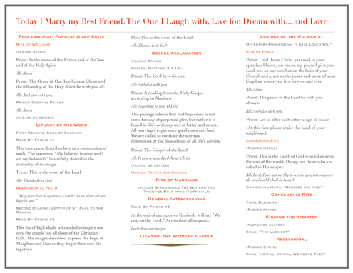 Catholic Wedding Program | The Ginger & The Giant
